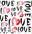 love seamless pattern with grunge hearts on white vector image