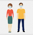 man and woman with medical masks isolated vector image vector image