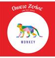 monkey chinese zodiac animals low poly logo icon vector image