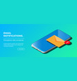 notification new email on your mobile phone vector image vector image