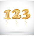 one two three golden numbers made of inflatable vector image vector image