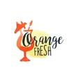 Orange 100 Percent Fresh Juice Promo Sign vector image
