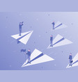 own business way businessman on paper airplane vector image