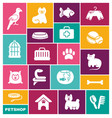pets care icon set in flat vector image