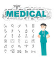 physician with medical icons set on white vector image vector image