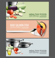 realistic cooking elements horizontal banners vector image vector image