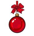 Red Christmas balls with ribbon and bows vector image vector image