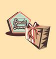 retro shopping gift box special discount vector image vector image