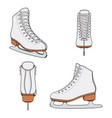 set images with white skates for figure skating vector image vector image