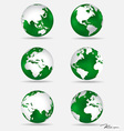 Set of modern green globes vector image vector image