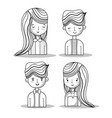 set women and men with hairstyle design vector image