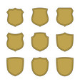 shield shape gold icons set simple silhouette vector image vector image