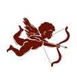 silhouette of a cupid shooting arrow vector image vector image