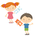 small kids with hand puppet toy vector image