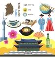 South Korea culture symbol set Travel Seoul vector image