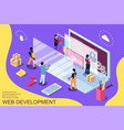 web development design concept with character and vector image