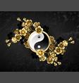yin yang symbol with golden sakura vector image vector image