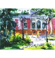 watercolor landscape of odessa ukraine vector image