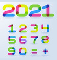 2021 bright rainbow numbers vector image
