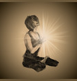 A realistic girl in a yoga pose vector image