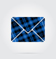 blue black tartan isolated icon mailing envelope vector image vector image