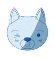 blue color shading silhouette cute face of cat vector image vector image