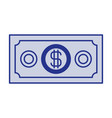 blue silhouette of money bill vector image vector image