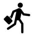 businessman running with briefcase icon vector image