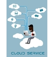 Businessman with tablet sitting on a cloud vector image vector image