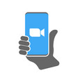 camera icon on smartphone vector image vector image