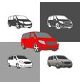car bus van commercial vehicle silhouette icons vector image vector image