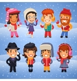 Cartoon Characters in Winter Clothes vector image vector image