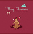 christmas and new year cute dog cartoon card vector image vector image