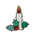 Christmas candle with ornament leaves