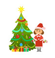 christmas holidays pine tree and snow maiden woman vector image vector image