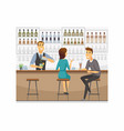 couple in a bar - cartoon people characters vector image