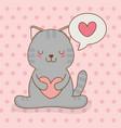 cute little cat with heart in speech bubble kawaii vector image