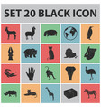 different animals black icons in set collection vector image vector image
