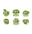 eco label or logo set healthy natural organic vector image
