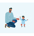 father help his little son try to walk vector image vector image