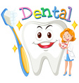 Female dentist with clean tooth vector image