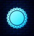 glowing neon quality emblem icon isolated on brick vector image vector image