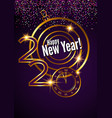greeting card golden text 2020 happy new year vector image
