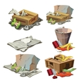 grocery paper and other trash set garbage vector image vector image