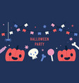 halloween party banner funny pumpkins and sweets vector image