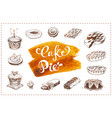 hand drawn bakery icons set food sketches vector image