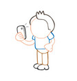 hand-drawn cartoon of man standing holding vector image vector image