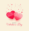 happy valentines day beautiful hearts greeting vector image