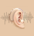 hearing aid behind ear ear and sound amplifier on vector image vector image