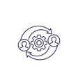 hr management line icon on white vector image vector image